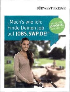 Anzeigenscan Einzelaufnahme für SWP-Stellenmarkt, Printausgabe 2015