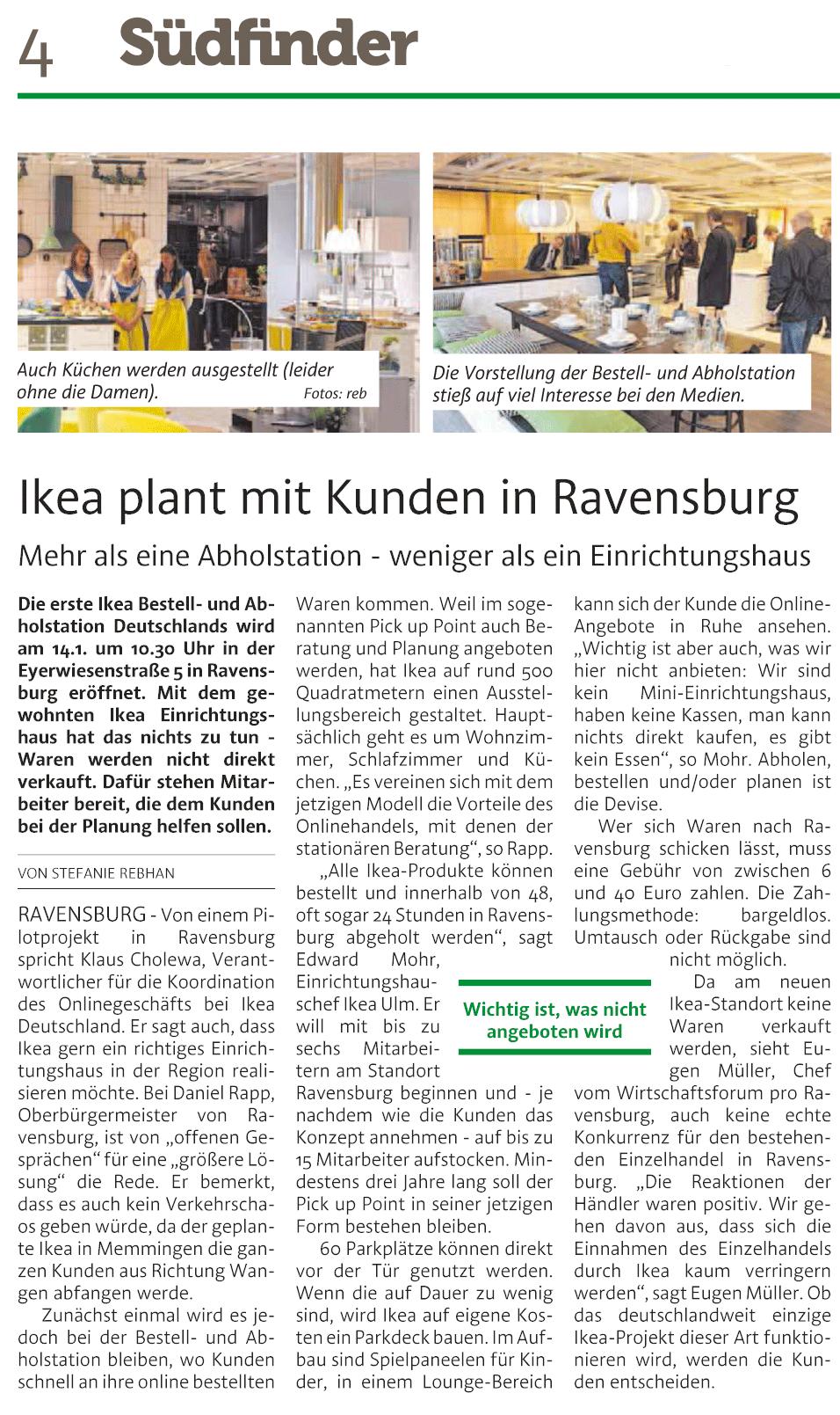 Artikel über Eröffnung einer Abholstation im IKEA Ravensburg, Quelle: Südfinder, Feb. 2016