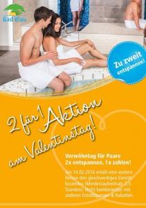 Flyer-Werbung für das Bad Blau zum Valentinstag 2016