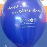 Ballon-Werbung für das aufblasbare Messestandsystem WindScape