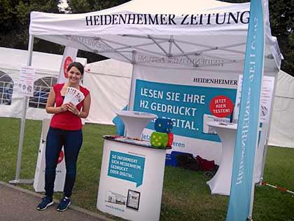 Unsere Promoterin im Einsatz für die Heidenheimer Zeitung beim Steiff Sommerfest 2016